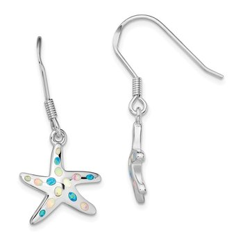 Sterling Silver Rhodium-plated Pink/Blue Created Opal Starfish Earrings