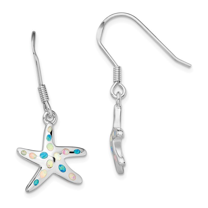 Quality Gold Sterling Silver Rhodium-plated Pink/Blue Created Opal Starfish Earrings