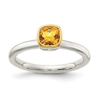 Sterling Silver w/ 14K Accent Citrine Ring