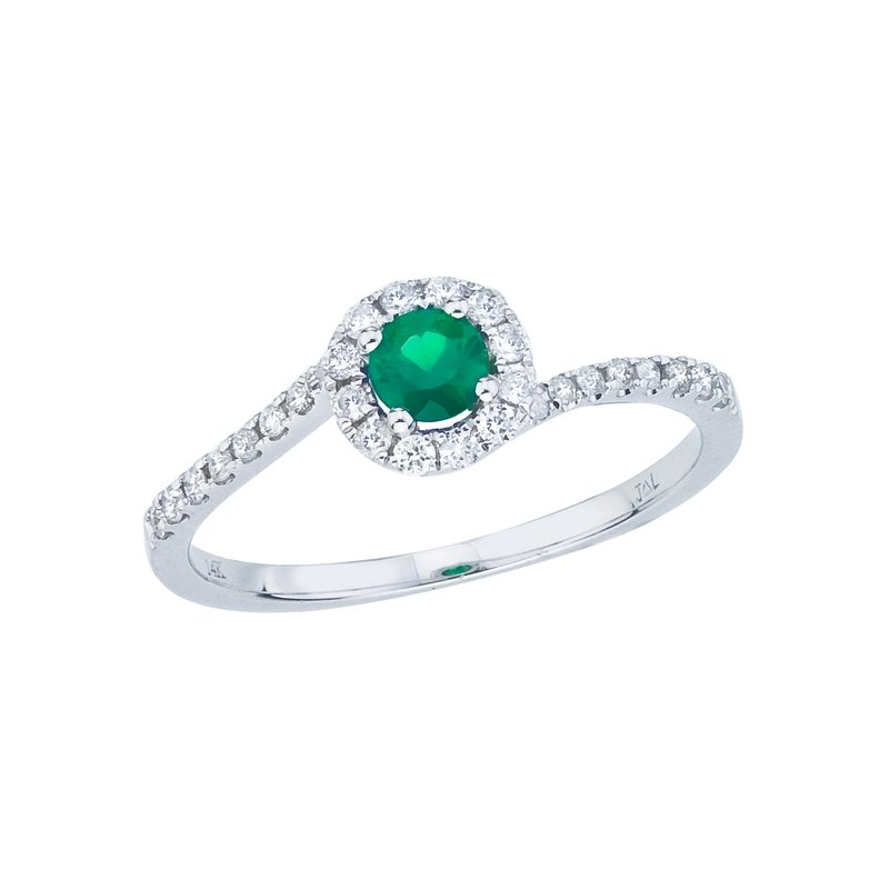 Color Merchants 14k White Gold Emerald and Diamond Halo Swirl Ring