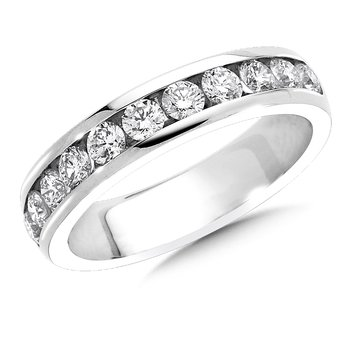 Channel set Round Diamond Wedding Band 14k White Gold (3/4ct. tw.)