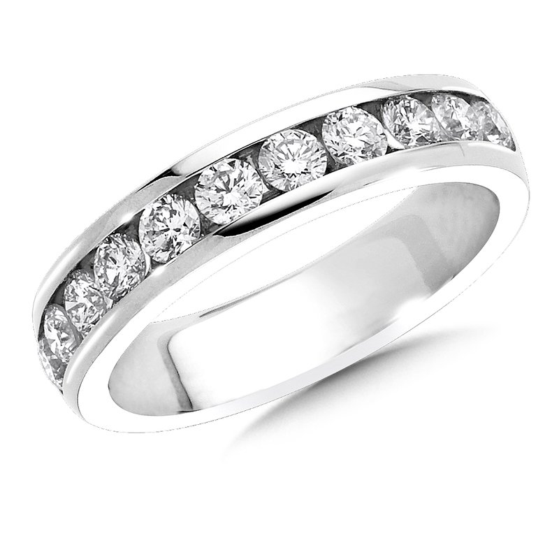 SDC Creations Channel set Round Diamond Wedding Band 14k White Gold (3/4ct. tw.)