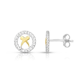 Sterling Silver & 18K Gold Italian Cable 'X' Studs