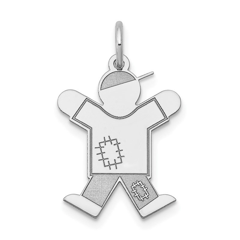 14k White Gold Kid Charm
