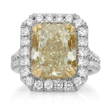 Platinum Yellow Diamond Halo Ring