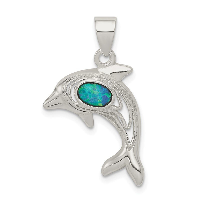 Quality Gold Sterling Silver Blue Opal Dolphin Pendant