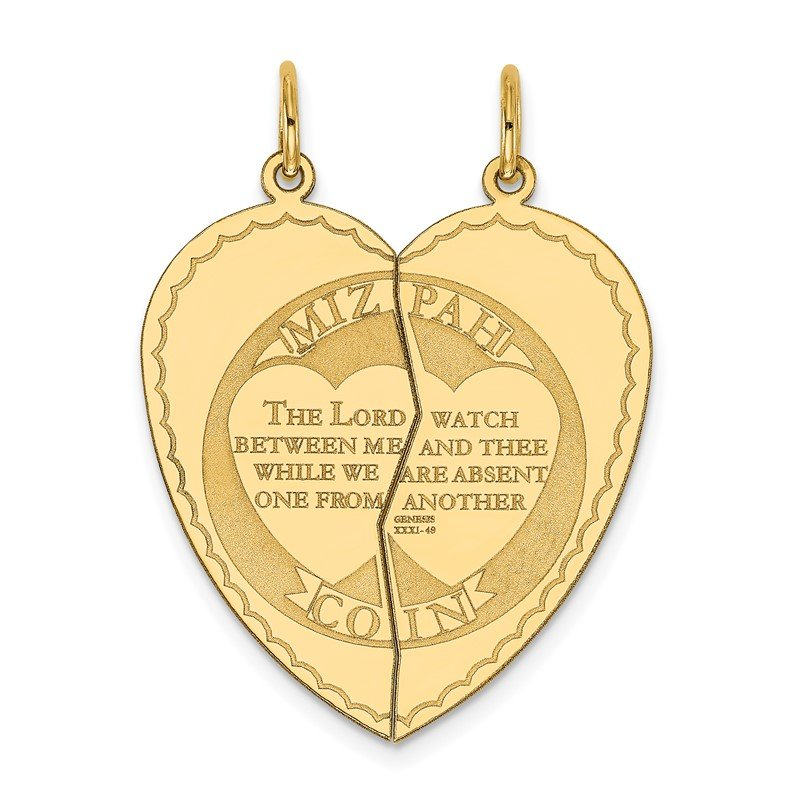 Quality Gold 14K 2-piece Mizpah Charm