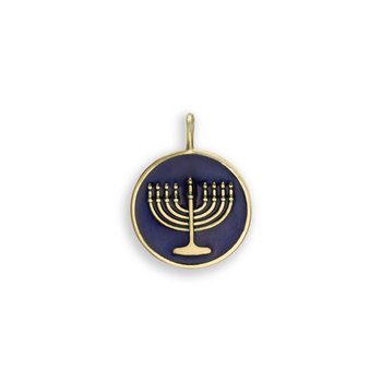 Blue Menorah Pendant.18K