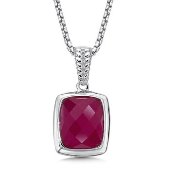 Sterling Silver Dyed Fuchsia Quartz Essentials Pendant