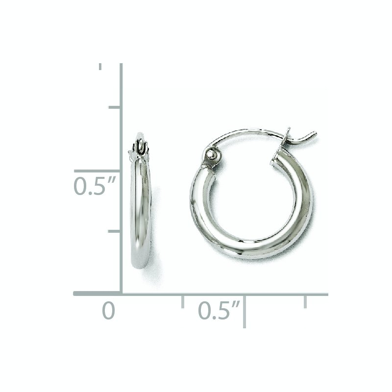 Leslie's Leslie's 10K White Gold Polished Hinged Hoop Earrings