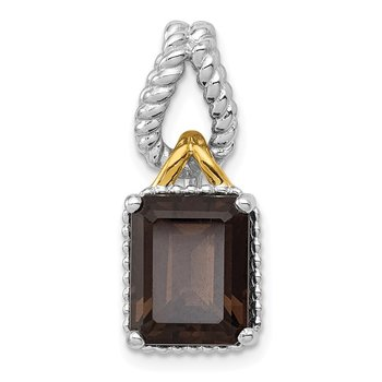 Sterling Silver Rhodium w/Flash Gold-plate Accent Smoky Quartz Pendant