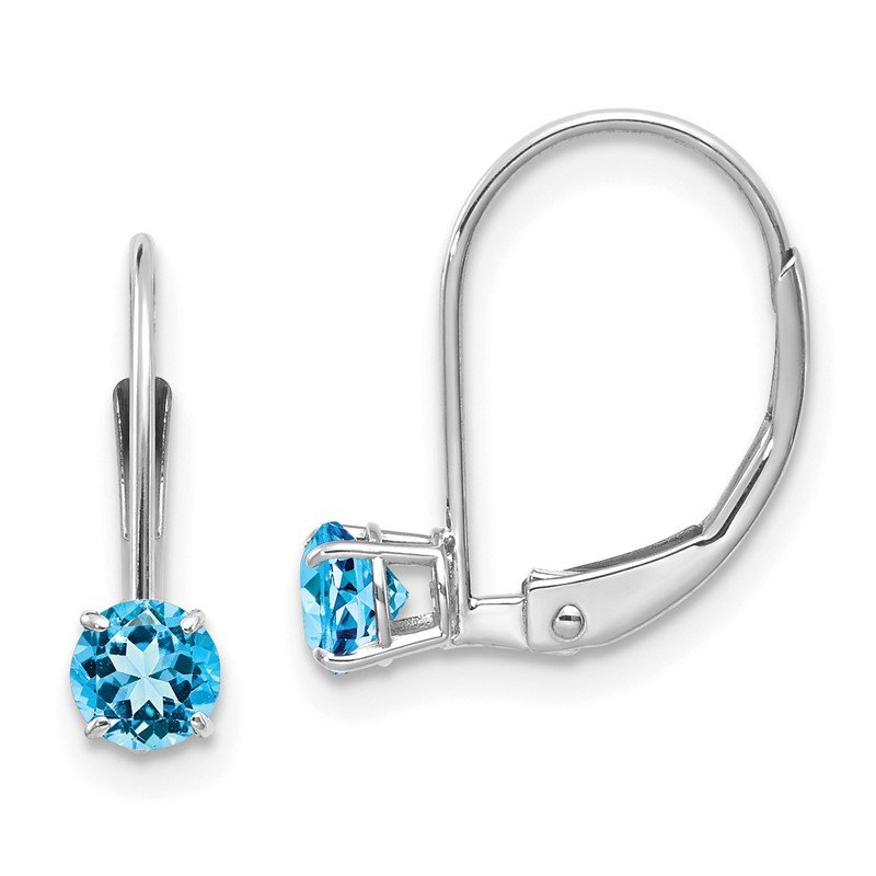 Quality Gold 14k White Gold 4mm Round December/Blue Topaz Leverback Earrings