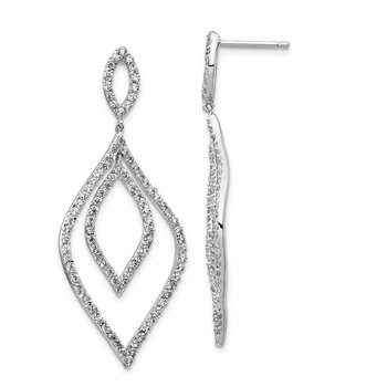 Cheryl M Sterling Silver Rhodium Plated CZ Flames Dangle Post Earrings