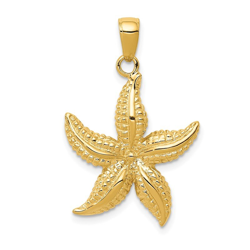 Quality Gold 14k Textured Starfish Pendant