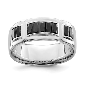 Sterling Silver Rhodium-plated Black CZ Grooved Ring