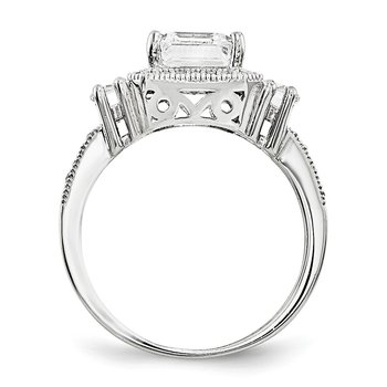 SS Rhodium-Plated CZ Brilliant Embers Ring