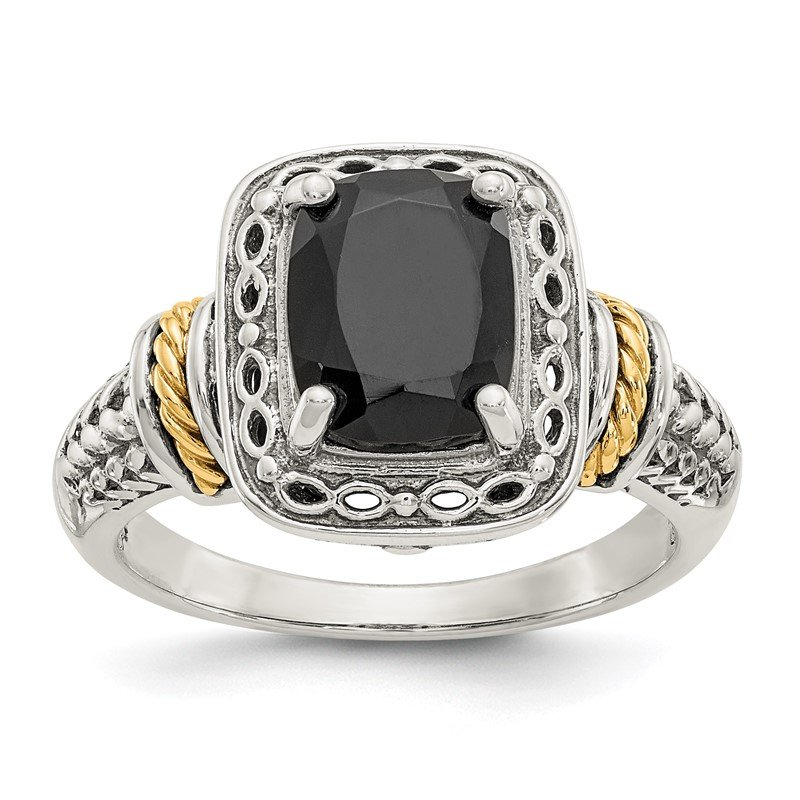 Quality Gold Sterling Silver w/14k Onyx Ring