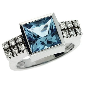 Blue Topaz & Diamoind Ring