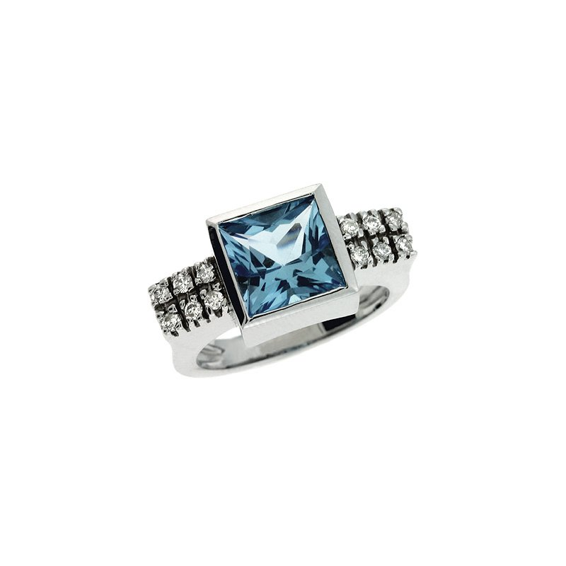 S. Kashi  & Sons Blue Topaz & Diamoind Ring