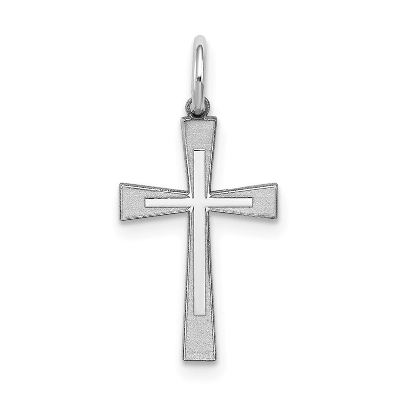 Quality Gold Sterling Silver Rhodium-plated Laser Designed Cross Charm