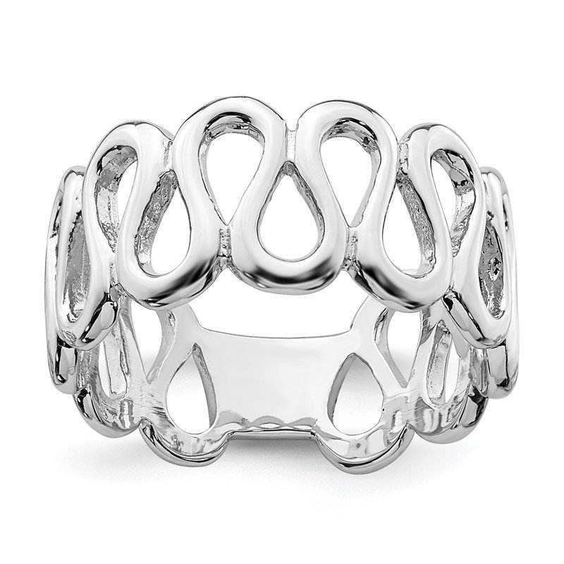 Quality Gold Sterling Silver Rhodium-plated Fancy Swirls Band