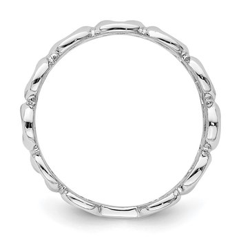 Sterling Silver Rhodium-plated Fancy Swirls Band
