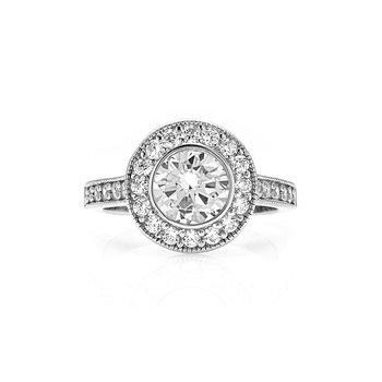 Bezel Set Milgrain Design Diamond Halo Engagement Ring