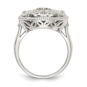 Sterling Silver w/14k Diamond Vintage Ring