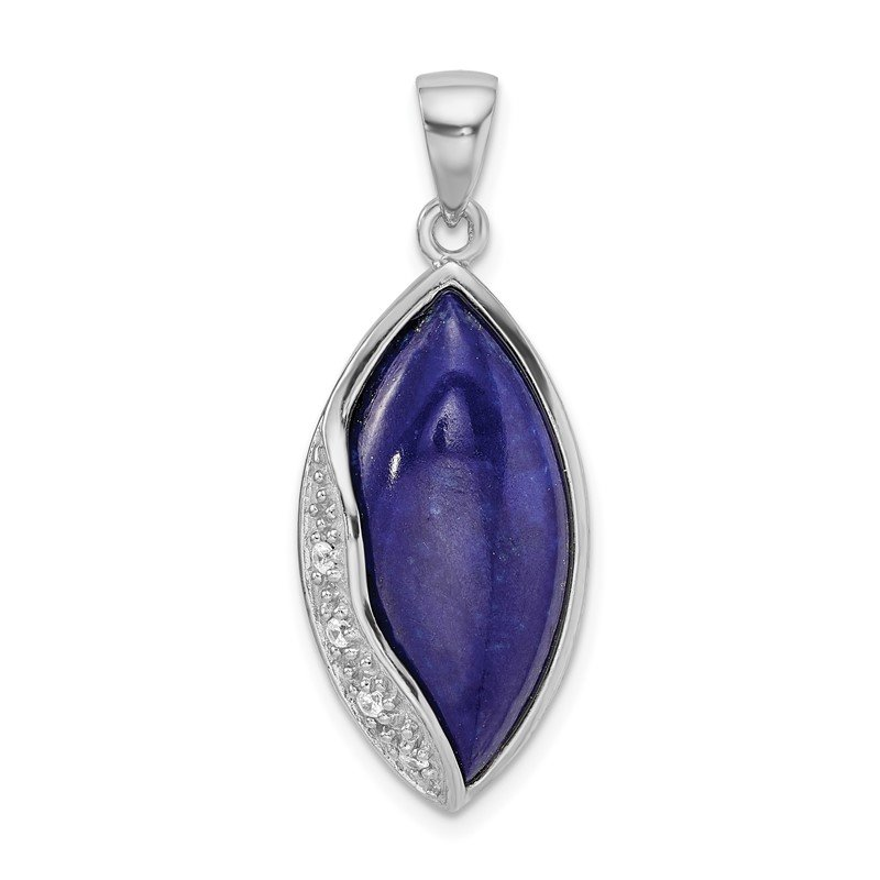 Quality Gold Sterling Silver Rhodium-plated Polished with CZ and Lapis Pendant
