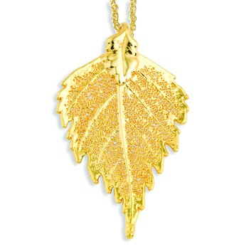 24k Gold Dipped Birch Leaf with 20 inch Gold-tone Necklace