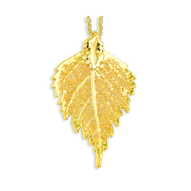 Quality Gold 24k Gold Dipped Birch Leaf w/ Gold-tone Chain