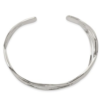 Sterling Silver Multi-strand Wavy Cuff Bangle