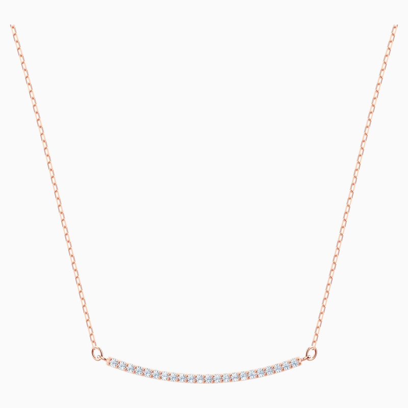 Swarovski Only Necklace, White, Rose-gold tone plated