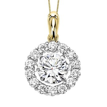 14K Diamond Rhythm Of Love Pendant 3/4 ctw (1/2 ct Center)