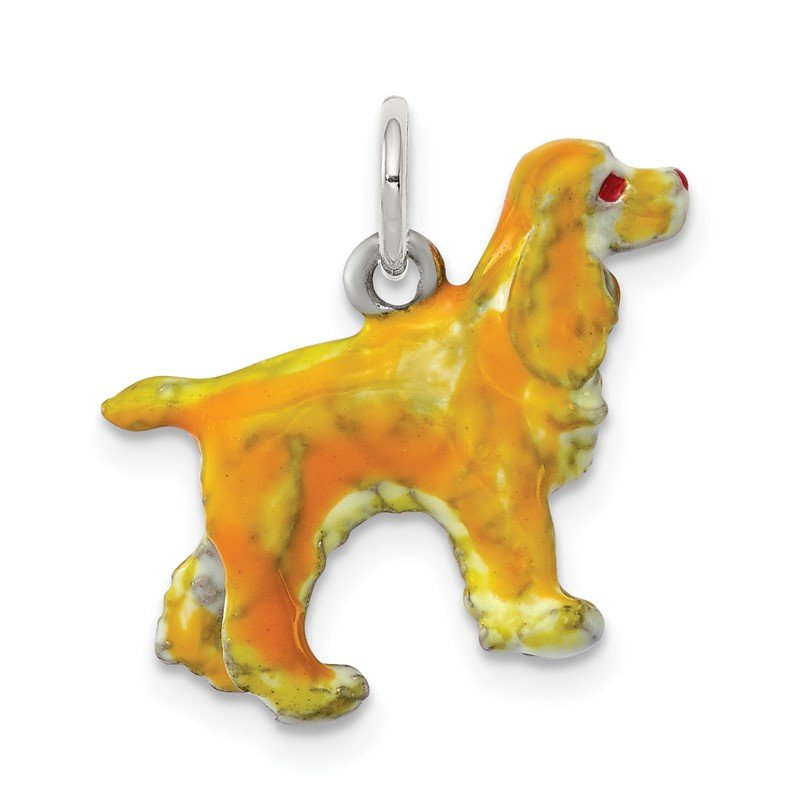 Quality Gold Sterling Silver Enameled Small Cocker Spaniel Charm