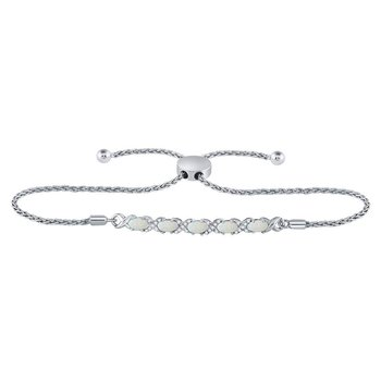 Sterling Silver Womens Round Diamond X and O Bolo Bracelet 1.00 Cttw