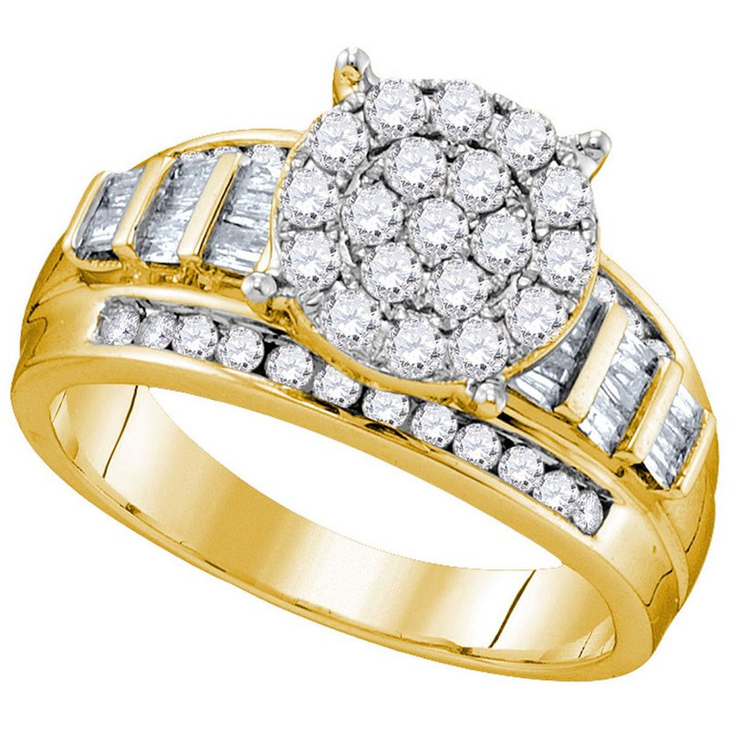 Gold-N-Diamonds, Inc. (Atlanta) 10kt Yellow Gold Womens Round Diamond Cindys Dream Cluster Bridal Wedding Engagement Ring 1.00 Cttw - Size 8