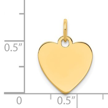 14k Plain .027 Gauge Engravable Heart Disc Charm