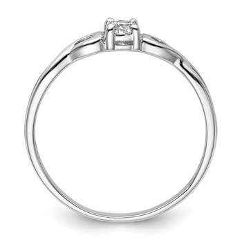 Sterling Silver Rhodium-plated and CZ Ring