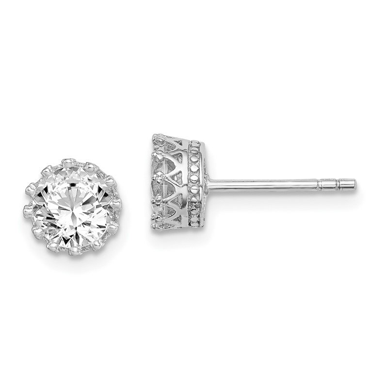 Quality Gold Sterling Silver Rhodium-plated 6mm Polished CZ Post Earrings