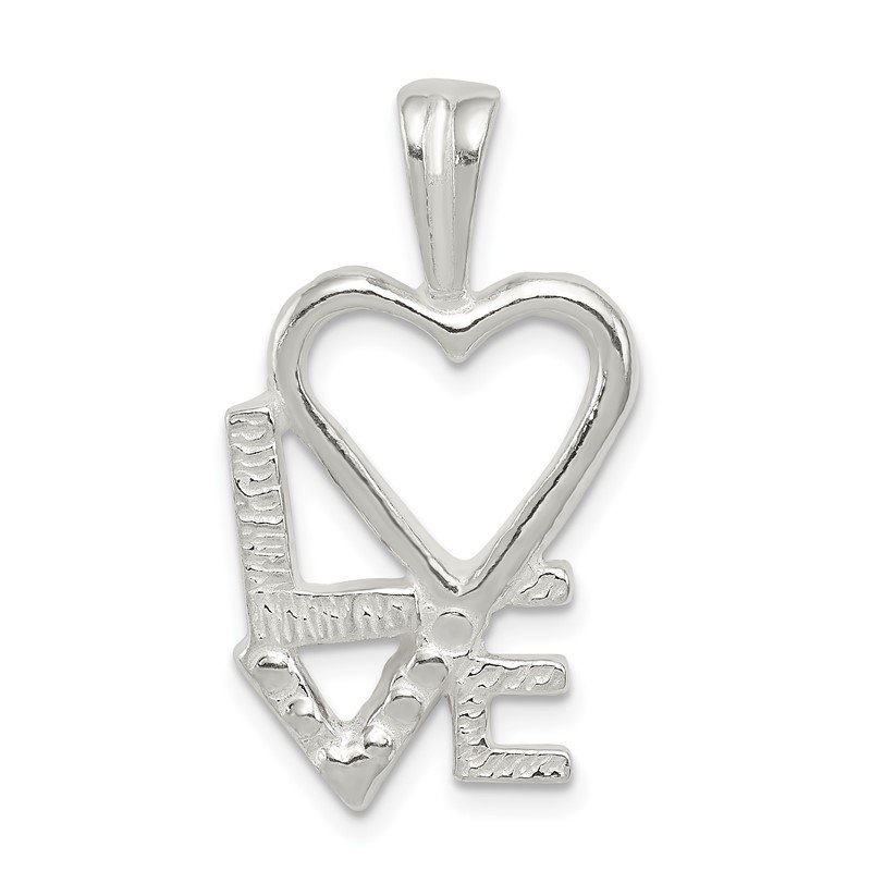 Quality Gold Sterling Silver Polished L HEART V E Chain Slide Pendant