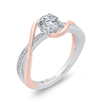 14K Two-Tone Gold Round Diamond Engagement Ring with Split Shank