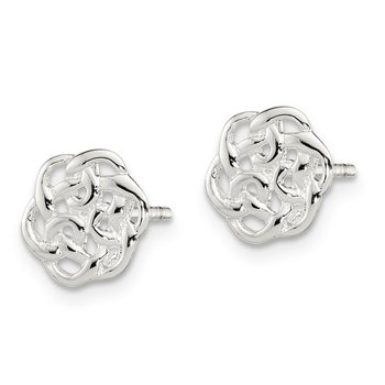 Sterling Silver Polished Celtic Knot Post Earrings
