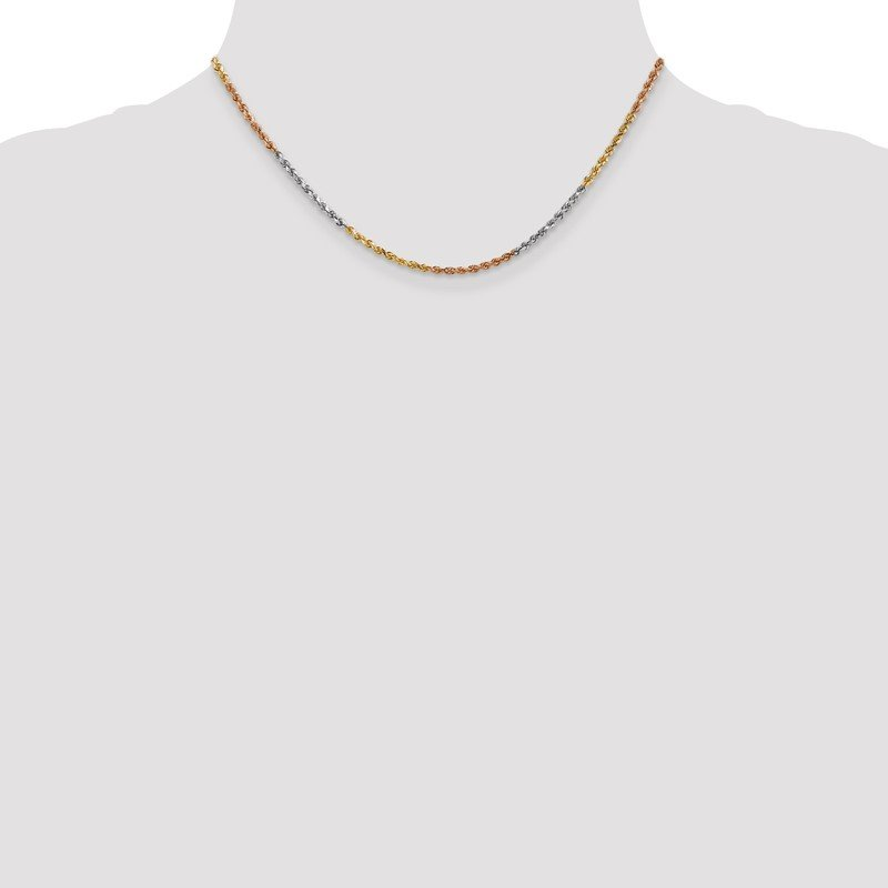 Quality Gold 14k Tri-Color 2.5mm D/C Rope Chain