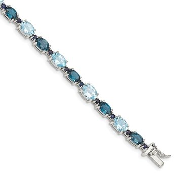 Sterling Silver Rhodium-plated London Blue/Sky Blue Topaz Bracelet