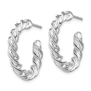 Sterling Silver RH-plated Polished Twisted 3mm Post Hoop Earrings