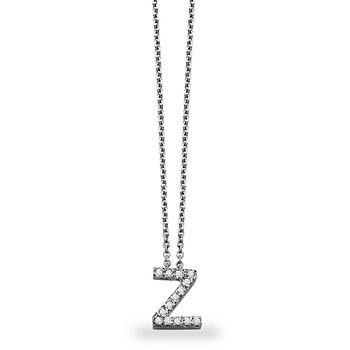 "Diamond Block Initial ""Z"" Necklace in 14k White Gold with 14 Diamonds weighing .11ct tw."