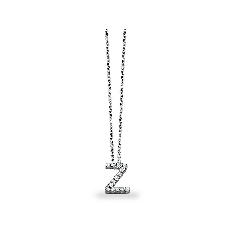 "KC Designs Diamond Block Initial ""Z"" Necklace in 14k White Gold with 14 Diamonds weighing .11ct tw."