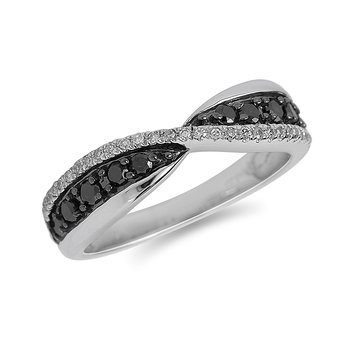 10K WG Black and White Diamond Foldover Band