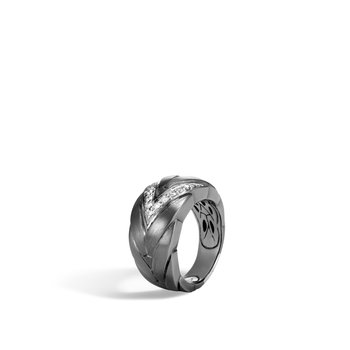Modern Chain 12.5MM Ring in Blackened Silver, Diamonds